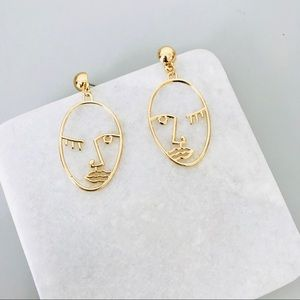 Minimal Abstract Face Earrings